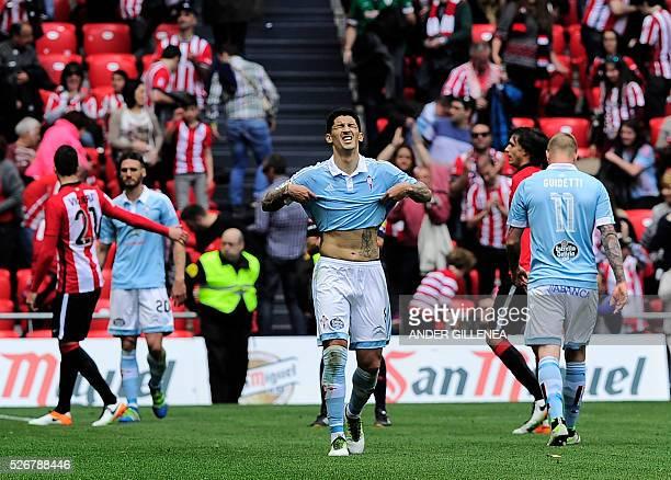 Celta Vigo's Chilean midfielder Pablo Hernandez gestures at the end of the Spanish league football match Athletic Club vs RC Celta de Vigo at the San...