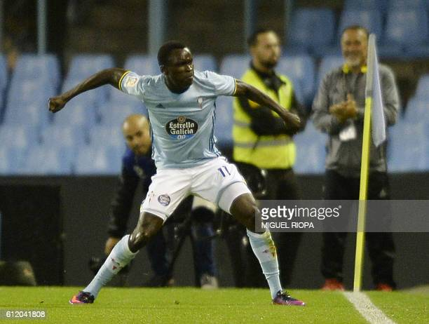 Celta Vigo's Danish midfielder Pione Sisto celebrates after scoring a goal during the Spanish league football match RC Celta de Vigo vs FC Barcelona...