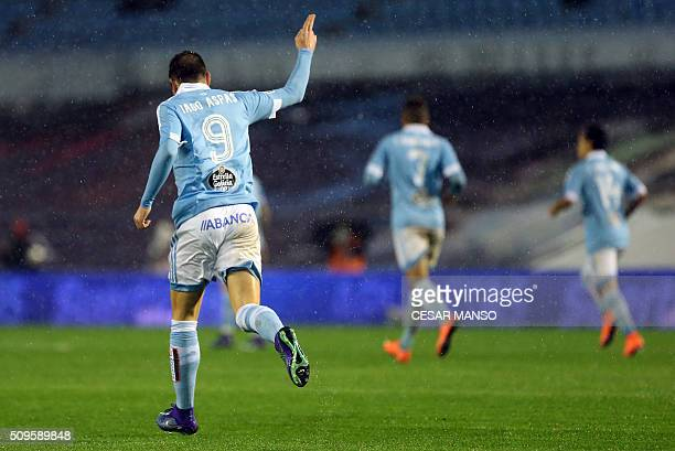 Celta Vigo's forward Iago Aspas celebrates a goal during the Spanish Copa del Rey semifinal second leg football match RC Celta de Vigo vs Sevilla FC...