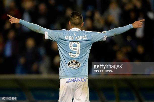 Celta Vigo's forward Iago Aspas celebrates after scoring a goal during the Spanish league football match Celta Vigo vs Real CD Espanyol at the...