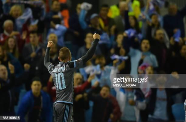 Celta Vigo's forward Iago Aspas celebrates after scoring a goal during the UEFA Europa League quarter final 1st leg football match at the Balaidos...