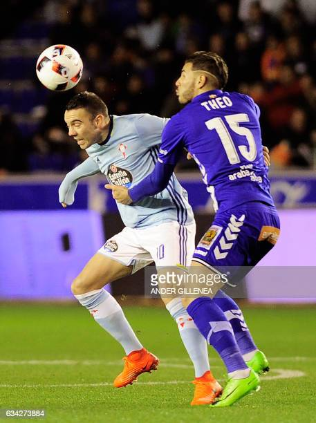Celta Vigo's forward Iago Aspas vies with Deportivo Alaves' French defender Theo Hernandez during the Spanish Copa del Rey semi final second leg...
