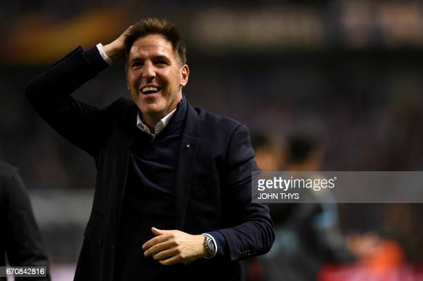 Celta Vigo's headcoach Eduardo Berizzo Magnolo celebrates at the end of the UEFA Europa League quarter final second leg football match KRC Genk...