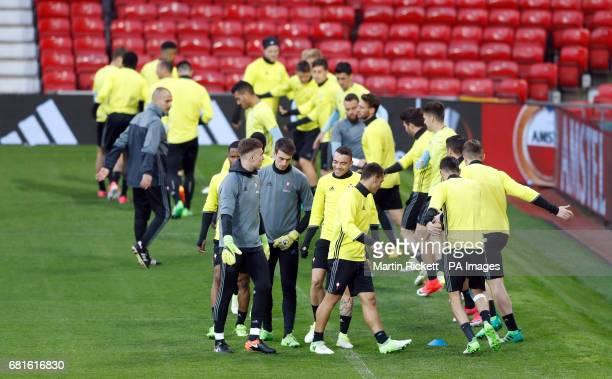 Celta Vigo's Iago Aspas during the training session at Old Trafford Manchester