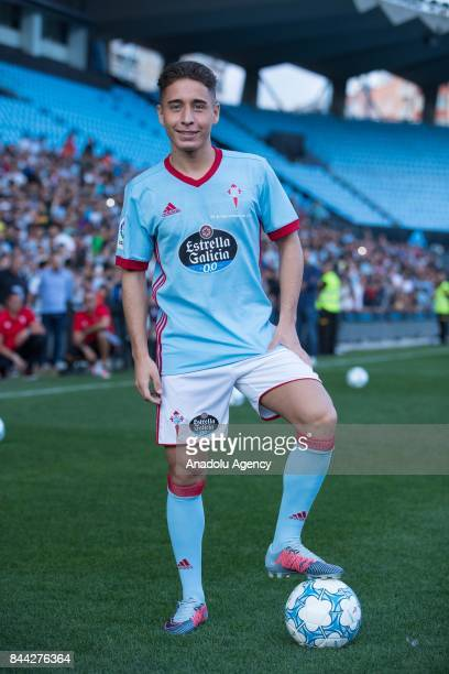 Celta Vigo's new transfer Turkish football player Emre Mor shows off his skills during his media presentation event at Balaidos Stadium in Vigo Spain...