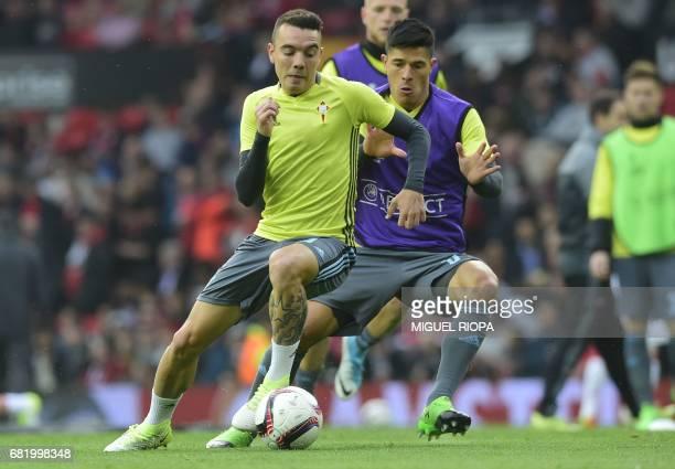 Celta Vigo's Spanish striker Iago Aspas and Celta Vigo's Argentinian defender Facundo Roncaglia warm up ahead of the UEFA Europa League semifinal...
