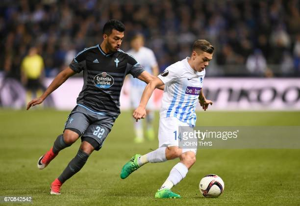 Celta's Argentinian defender Gustavo Cabral vies with Genk's forward Leandro Trossard during the UEFA Europa League quarter final second leg football...