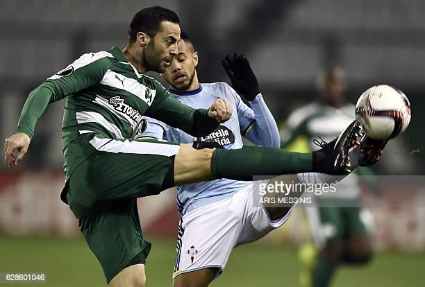 Celta's Belgian forward Theo Bongonda fights for the ball with Panathinaikos' Italian defender Giandomenico Mesto during the UEFA Europa League...