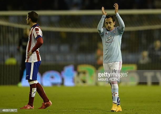 Celta's Chilean forward Fabian Orellana celebrates after scoring a goal during the Spanish league football match RC Celta de Vigo vs Club Atletico de...