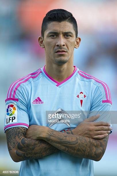 Celta's Chilean midfielder Pablo Hernandez stands during the official team presentation at the Balaidos Stadium in Vigo on August 16 2014 AFP PHOTO/...