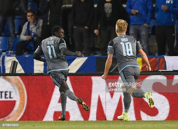 Celta's Danish forward Pione Sisto celebrates after scoring during the UEFA Europa League quarter final second leg football match KRC Genk against...