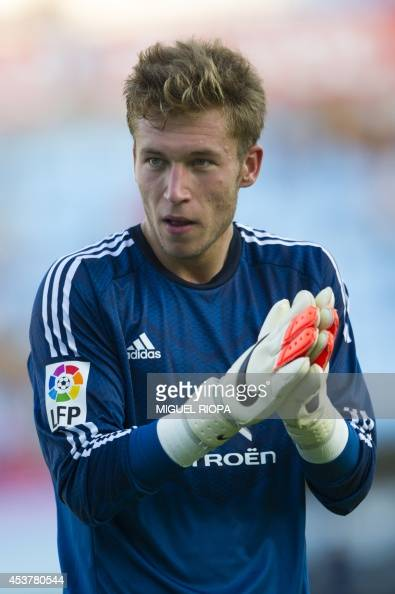 Celta's goalkeeper Ruben Blanco stands during the official team presentation at the Balaidos Stadium in Vigo on August 16 2014 AFP PHOTO/ MIGUEL RIOPA