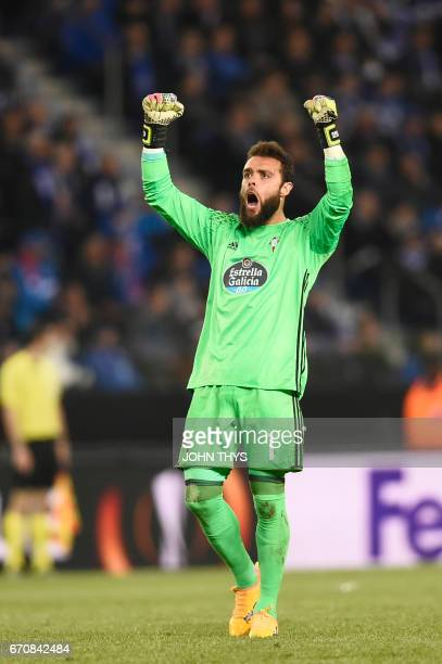 Celta's goalkeeper Sergio Alvarez celebrates after Celta's Danish forward Pione Sisto scored during the UEFA Europa League quarter final second leg...