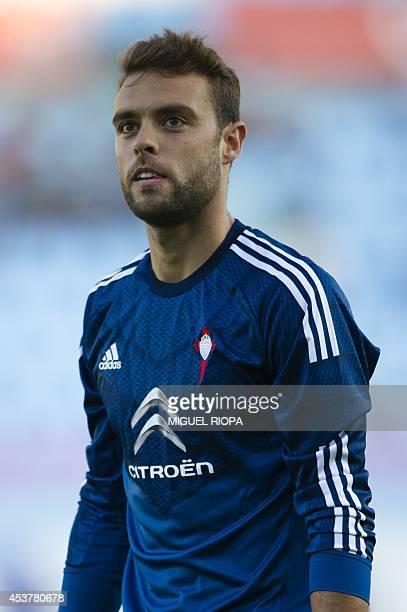 Celta's goalkeeper Sergio Alvarez stands during the official team presentation at the Balaidos Stadium in Vigo on August 16 2014 AFP PHOTO/ MIGUEL...
