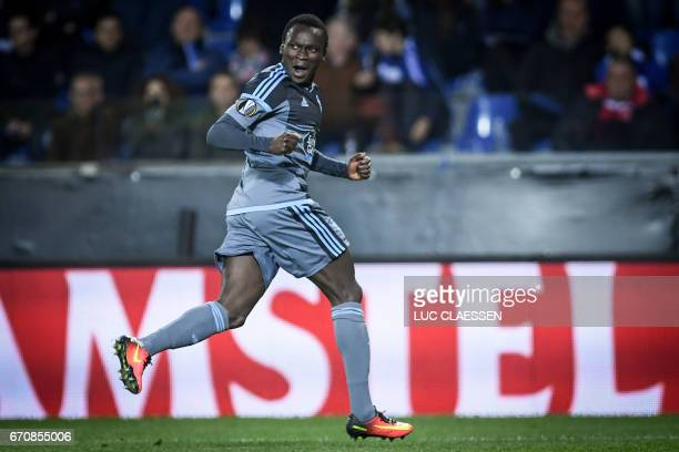 Celta's Pione Sisto celebrates after scoring during the UEFA Europa League quarter final second leg football match KRC Genk against Celta Vigo at the...