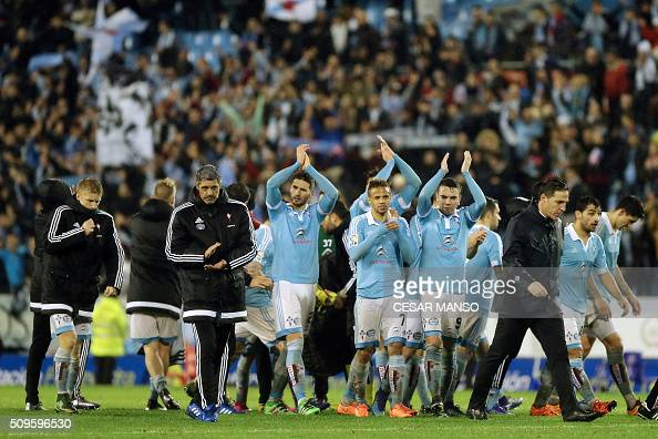 Celta's players applaud their fans at the end of the Spanish Copa del Rey semifinal second leg football match RC Celta de Vigo vs Sevilla FC at...