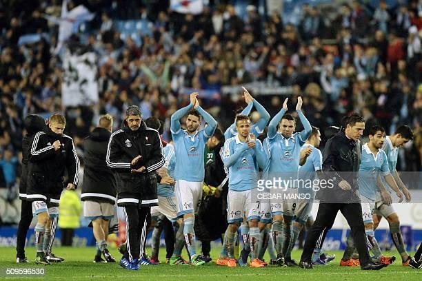 Celta's players applaud their fans at the end of the Spanish Copa del Rey semifinal second leg football match RC Celta de Vigo vs Sevilla FC at...