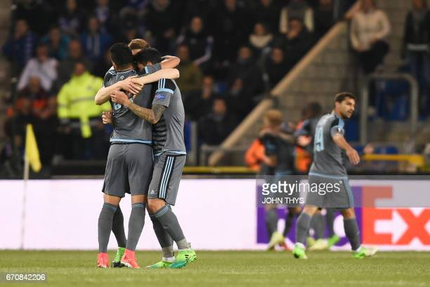 Celta's players celebrate after scoring during the UEFA Europa League quarter final second leg football match KRC Genk against Celta Vigo at the...
