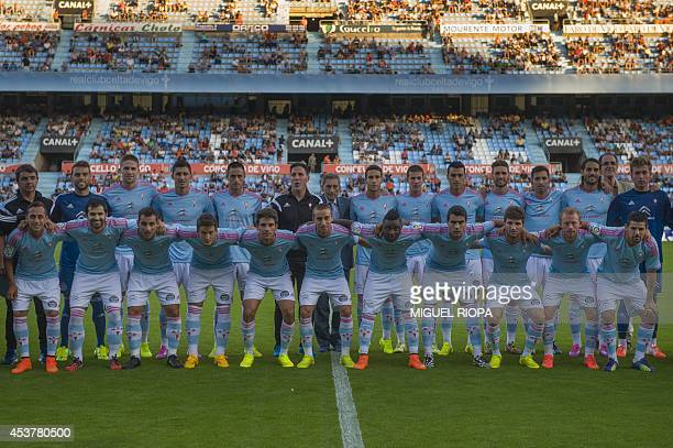 Celta's team poses during the official team presentation at the Balaidos Stadium in Vigo on August 16 2014 Celta's goalkeeper Sergio Alvarez defender...