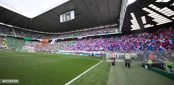 Celtic and Rangers fans at the start of the match between Celtic and Rangers during the Ladbrokes Scottish Premiership match between Celtic and...