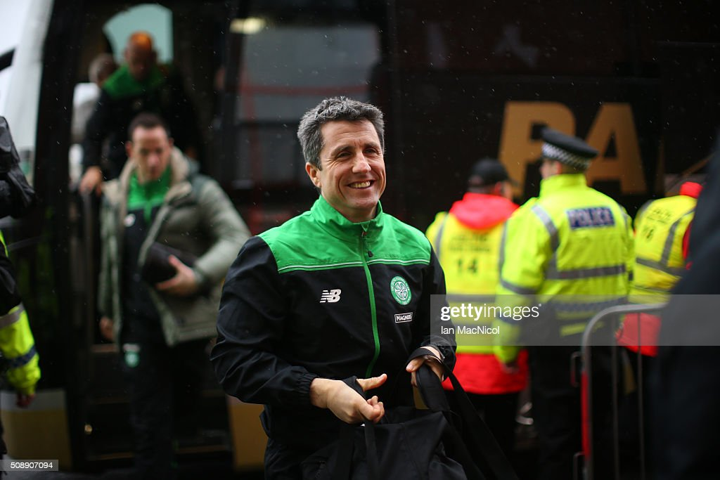 Celtic assistant manager John Collins arrives at the stadium prior to the William Hill Scottish Cup Fifth Round match between East Kilbride and Celtic at Excelsior Stadium on February 7, 2016 in Airdrie, Scotland.