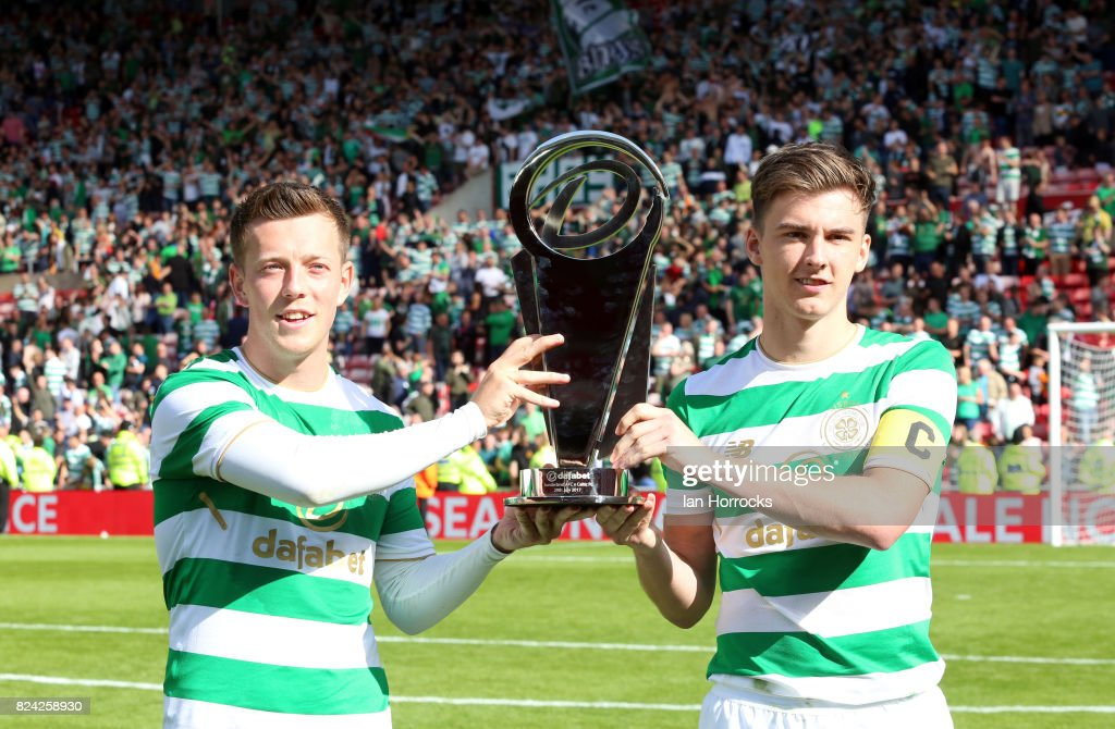 Celtic captain Keiran Tierney (R) and hat-trick scorer Callum McGregor lift thenDafabet cup during a pre-season friendly match between Sunderland AFC and Celtic at the Stadium of Light on July 29, 2017 in Sunderland, England.