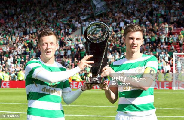 Celtic captain Keiran Tierney and hattrick scorer Callum McGregor lift thenDafabet cup during a preseason friendly match between Sunderland AFC and...