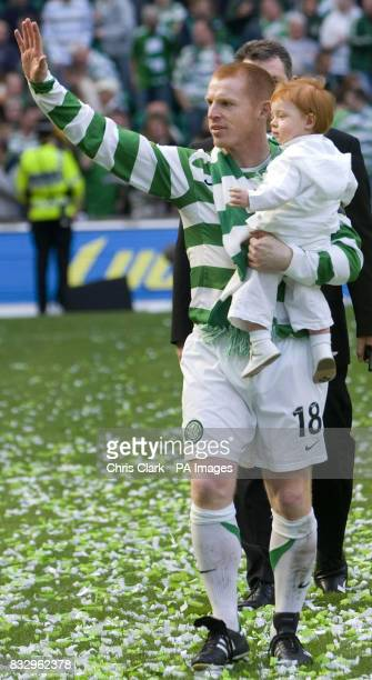 Celtic captain Neil Lennon with his son Gallagher celebrates winning the Bank of Scotland Premier League after the Bank of Scotland Premier League...