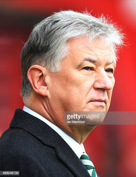 Celtic chairman Peter Lawell looks on during the Ladbrokes Scottish Premiership match between Motherwell and Celtic at Fir Park on October 17 2015 in...