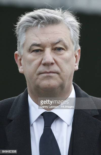 Celtic chief executive Peter Lawwell attends the funeral of former Celtic assistant manager Sean Fallon at Christ the King Church in Glasgow Scotland