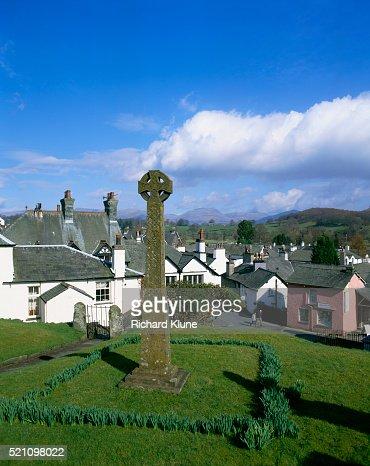 K Village Lake District Celtic Cross in Hawkshead Village in Lake District