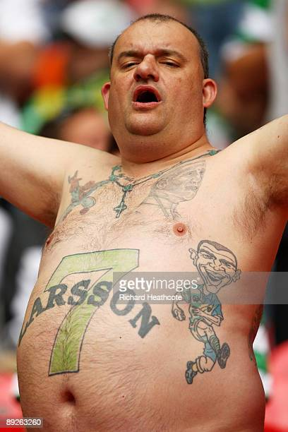 A celtic fan displays his tattoos during the Wembley Cup match between Celtic and Tottenham Hotspur at Wembley Stadium on July 26 2009 in London...