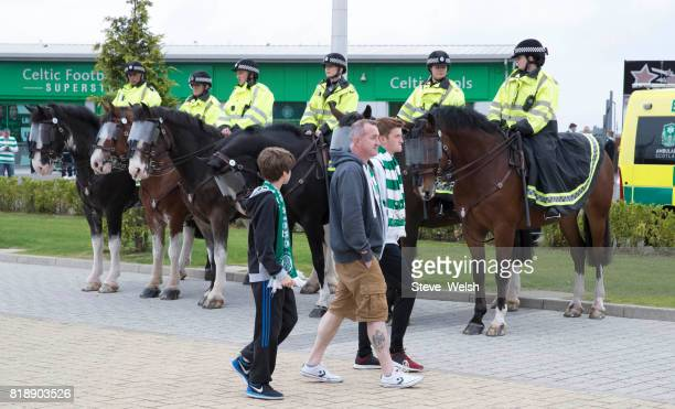 Celtic fans arrive early at Celtic Park in Glasgow before the UEFA Champions League Qualifying Second RoundSecond Leg match between Celtic and...