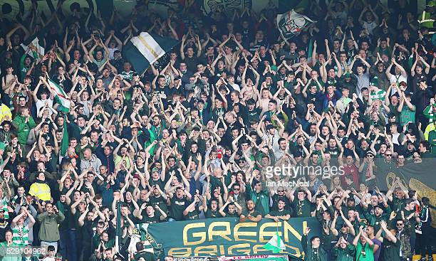 Celtic fans celebrate at the end of the match during the Ladbrokes Scottish Premier League match between Celtic and Aberdeen at Celtic Park on May 8...