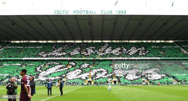 Celtic fans come together to display 'Lisbon Lions' in the stands before the Ladbrokes Scottish Premiership match at Celtic Park Glasgow