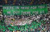 Celtic fans display a banner during the UEFA Europa League match between Celtic FC and Fenerbahce SK at Celtic Park on October 01 2015 in Glasgow...