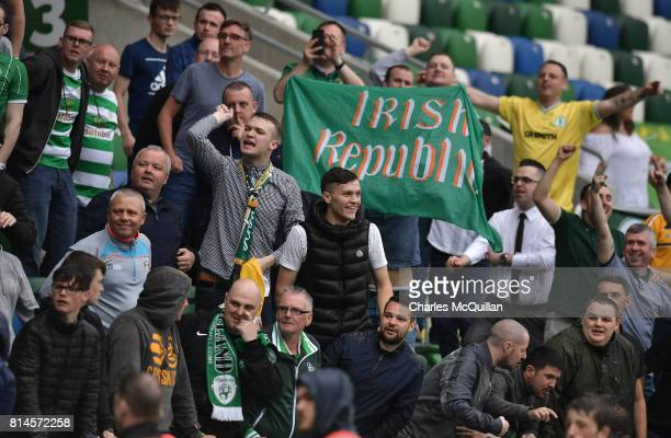Celtic fans during the Champions League second round first leg qualifying game between Linfield and Celtic at Windsor Park on July 14 2017 in Belfast...