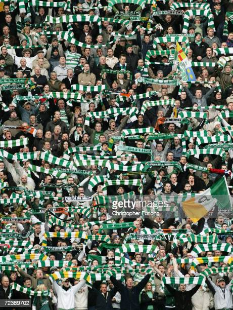Celtic fans during the Scottish Premier League match between Celtic and Glasgow Rangers on February 20 at Celtic Park Glasgow Scotland Rangers won...