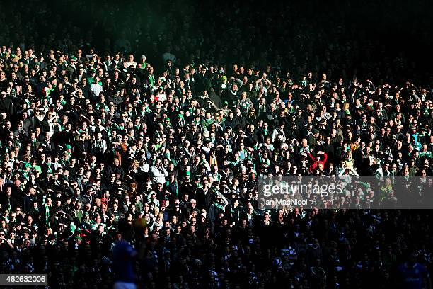 Celtic fans enjoy the sunshine during the Scottish League Cup SemiFinal football match between Celtic and Rangers at Hampden Park on February 01 2015...