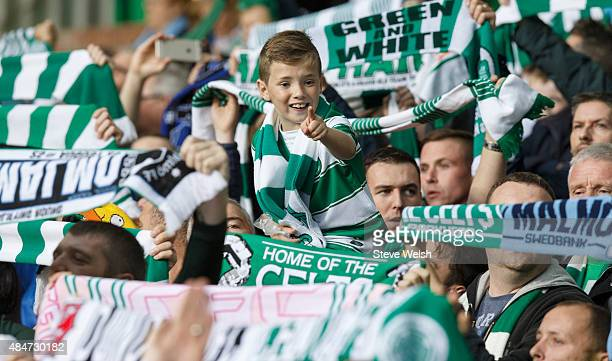 Celtic Fans inside Celtic Park ahead of the UEFA Champions League Qualifying play off first leg match between Celtic FC and Malmo FF at Celtic Park...
