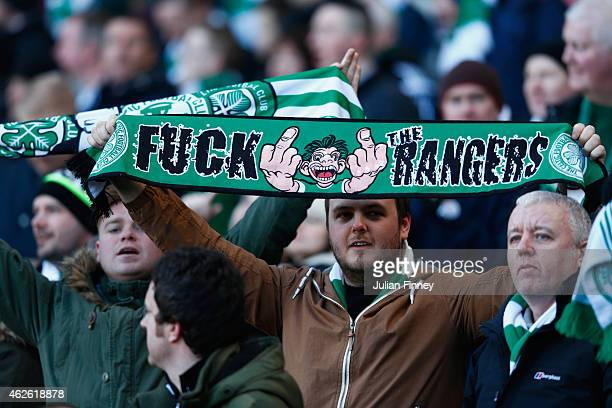 Celtic fans look on during the Scottish League Cup SemiFinal between Celtic and Rangers at Hampden Park on February 1 2015 in Glasgow Scotland