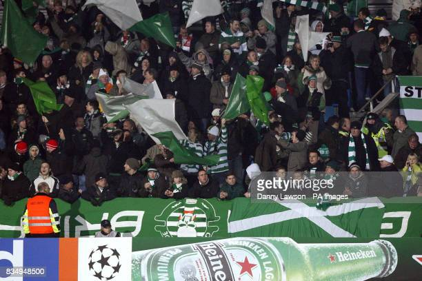 Celtic fans show their support in the stands prior to kick off