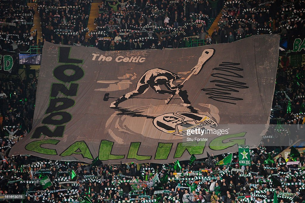 Celtic fans unveil their banner before the UEFA Champions League Round of 16 first leg match between Celtic and Juventus at Celtic Park Stadium on February 12, 2013 in Glasgow, Scotland.
