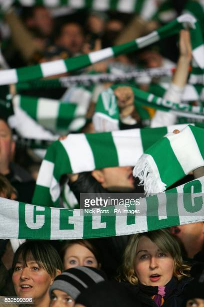 Celtic fans with scarfs