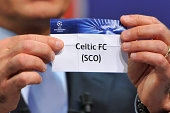 Celtic FC is drawn during the 2014/15 UEFA Champions League Playoff round draw at the UEFA headquarters The House of European Football on August 8...