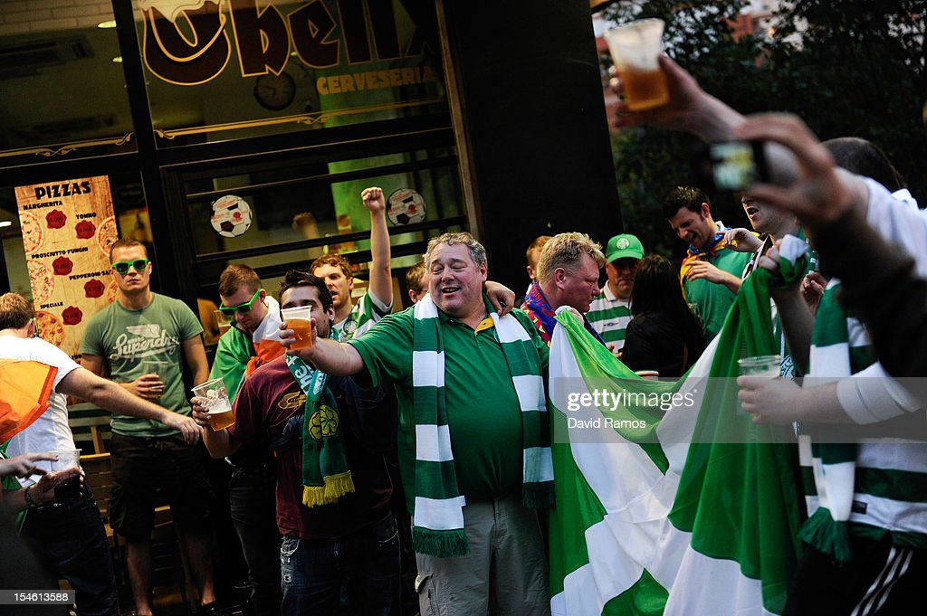 Celtic FC supporters enjoy the atmosphere prior to the UEFA Champions League Group G match between FC Barcelona and Celtic FC near the Camp Nou Stadium on October 23, 2012 in Barcelona, Spain.