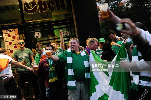 Celtic FC supporters enjoy the atmosphere prior to the UEFA Champions League Group G match between FC Barcelona and Celtic FC near the Camp Nou...