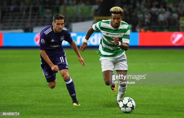 Celtic FC's Scott Sinclair fights for the ball with RSC Anderlecht Alexandru Chipciu during the UEFA Champions League Group B football match...