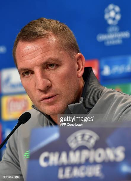 Celtic Glasgow's headcoach Brendan Rodgers speaks during the press conference on the eve of the Champions League group B match between Bayern Munich...
