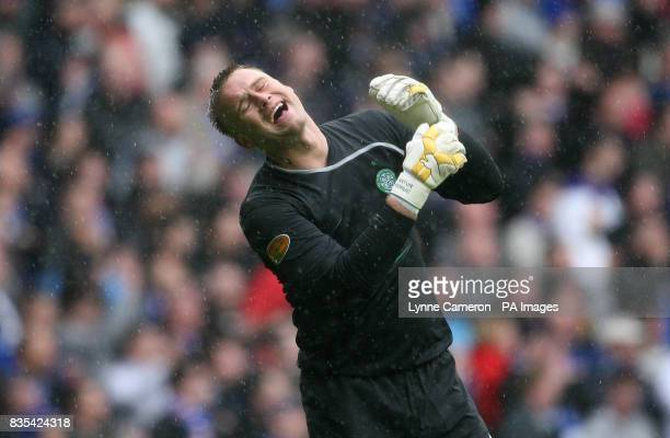 Celtic goal keeper Artur Boruc appears dejected during the Clydesdale Bank Scottish Premier League match at Ibrox Stadium Glasgow